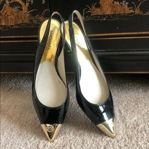 Michael Kors black and gold slingback mini heels